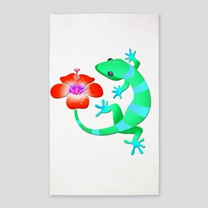 Blue and Green Jungle Lizard with Orange Area Rug