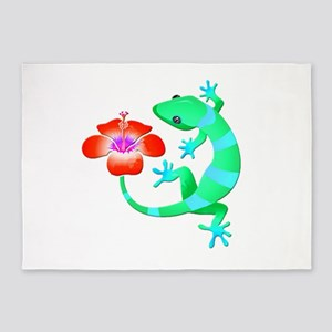 Blue and Green Jungle Lizard with O 5'x7'Area Rug