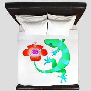 Blue and Green Jungle Lizard with Orang King Duvet