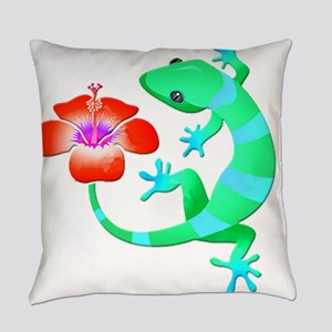 Blue and Green Jungle Lizard with Everyday Pillow