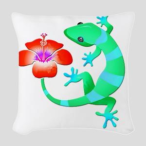 Blue and Green Jungle Lizard w Woven Throw Pillow