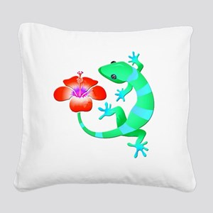 Blue and Green Jungle Lizard Square Canvas Pillow