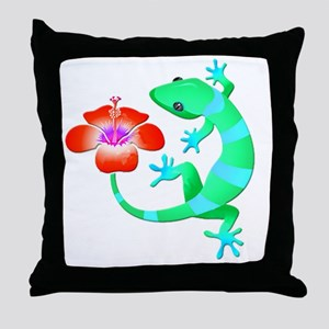 Blue and Green Jungle Lizard with Ora Throw Pillow
