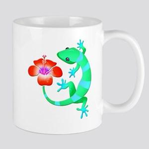 Blue and Green Jungle Lizard with Orange Hibi Mugs