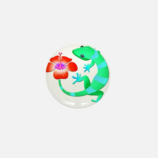 Blue and Green Jungle Lizard with Oran Mini Button
