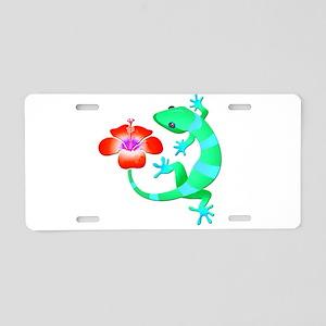 Blue and Green Jungle Lizar Aluminum License Plate
