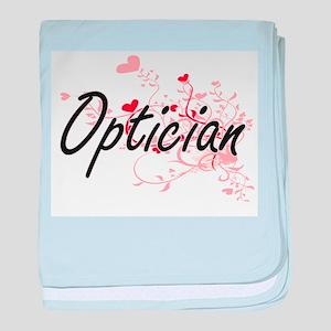 Optician Artistic Job Design with Hea baby blanket