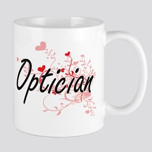 Optician Artistic Job Design with Hearts Mugs