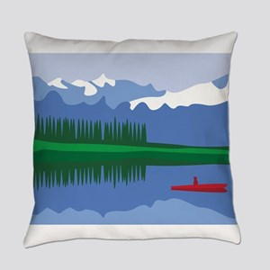 Mountain Canoe Lake Everyday Pillow