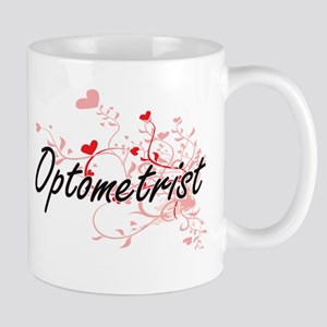 Optometrist Artistic Job Design with Hearts Mugs