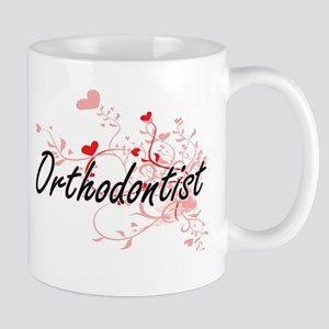 Orthodontist Artistic Job Design with Hearts Mugs