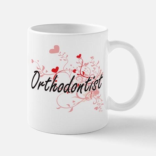 Orthodontist Artistic Job Design with Hearts Mugs