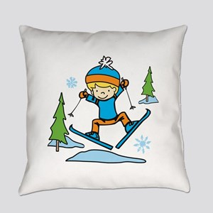 Boy Skiing Everyday Pillow