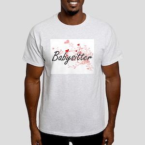 Babysitter Artistic Job Design with Hearts T-Shirt