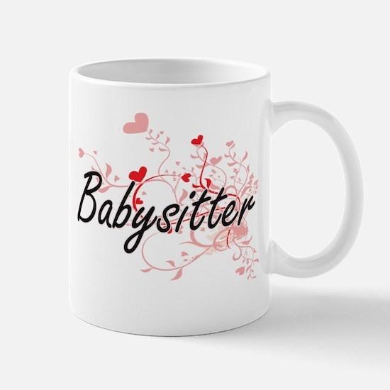 Babysitter Artistic Job Design with Hearts Mugs