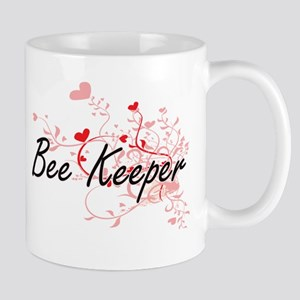 Bee Keeper Artistic Job Design with Hearts Mugs