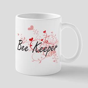 Bee Keeper Artistic Job Design with Hearts Mugs
