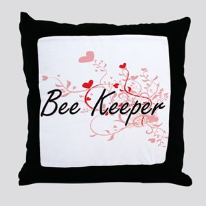 Bee Keeper Artistic Job Design with H Throw Pillow