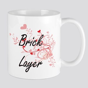 Brick Layer Artistic Job Design with Hearts Mugs