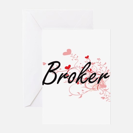 Broker Artistic Job Design with Hea Greeting Cards