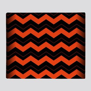 Orange and Black Chevron Throw Blanket