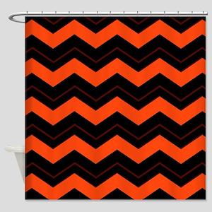 Orange and Black Chevron Shower Curtain
