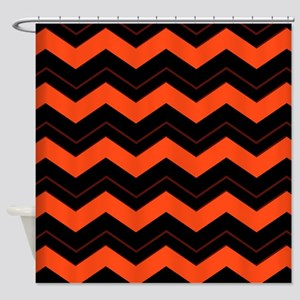Orange And Black Chevron Shower Curtain