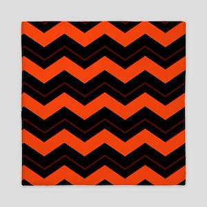Orange and Black Chevron Queen Duvet