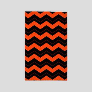 Orange and Black Chevron Area Rug