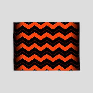 Orange and Black Chevron 5'x7'Area Rug