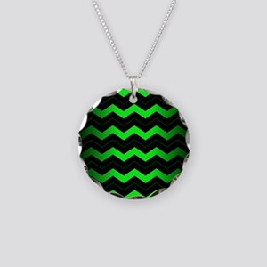 Green Chevron Necklace Circle Charm