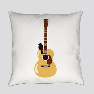 Acoustic Guitar and Bird Everyday Pillow