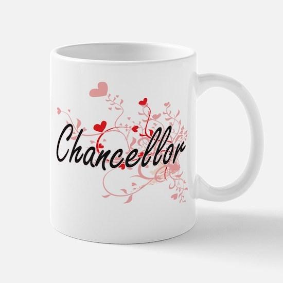 Chancellor Artistic Job Design with Hearts Mugs
