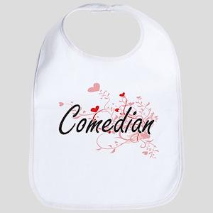 Comedian Artistic Job Design with Hearts Bib