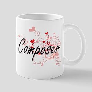 Composer Artistic Job Design with Hearts Mugs