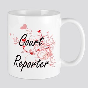 Court Reporter Artistic Job Design with Heart Mugs