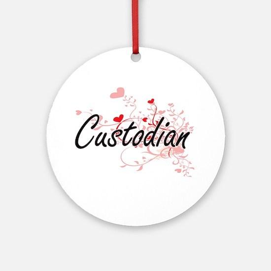 Custodian Artistic Job Design with Round Ornament