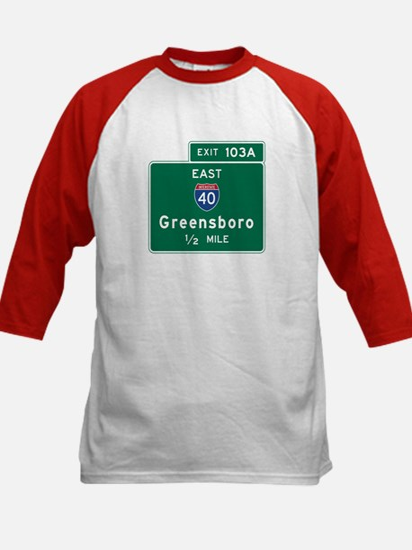 Greensboro, NC Road Sign, USA Kids Baseball Jersey