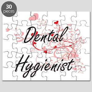 Dental Hygienist Artistic Job Design with H Puzzle