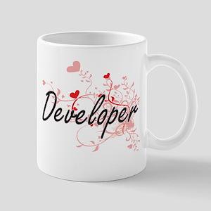 Developer Artistic Job Design with Hearts Mugs