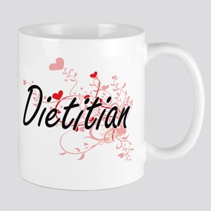 Dietitian Artistic Job Design with Hearts Mugs
