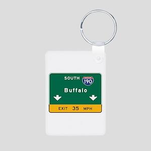 Buffalo, NY Road Sign, USA Aluminum Photo Keychain