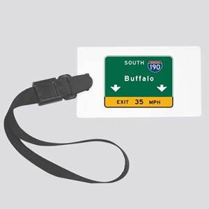Buffalo, NY Road Sign, USA Large Luggage Tag