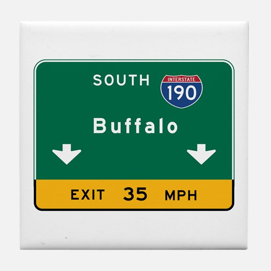 Buffalo, NY Road Sign, USA Tile Coaster