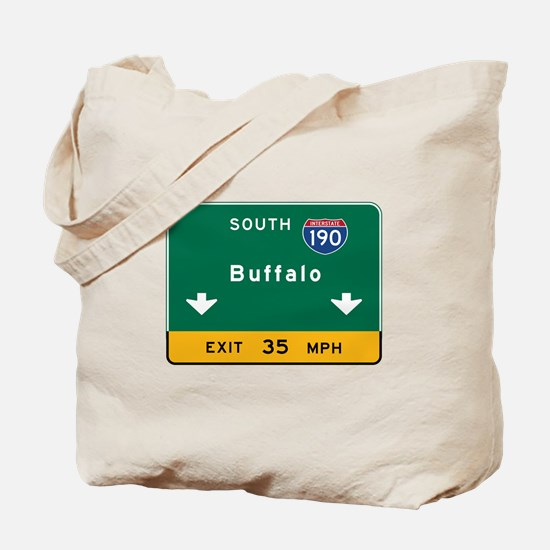 Buffalo, NY Road Sign, USA Tote Bag