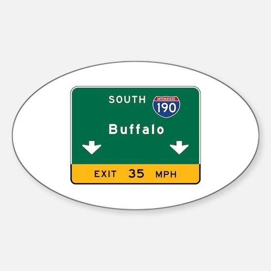 Buffalo, NY Road Sign, USA Sticker (Oval)