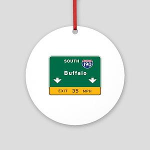 Buffalo, NY Road Sign, USA Round Ornament