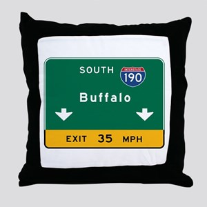 Buffalo, NY Road Sign, USA Throw Pillow