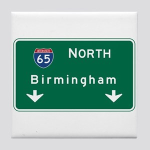 Birmingham, AL Road Sign, USA Tile Coaster