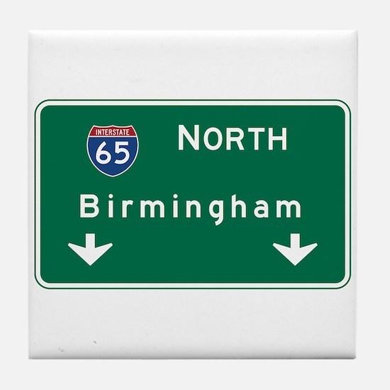 Birmingham, AL Road Sign, USA Tile Coaster